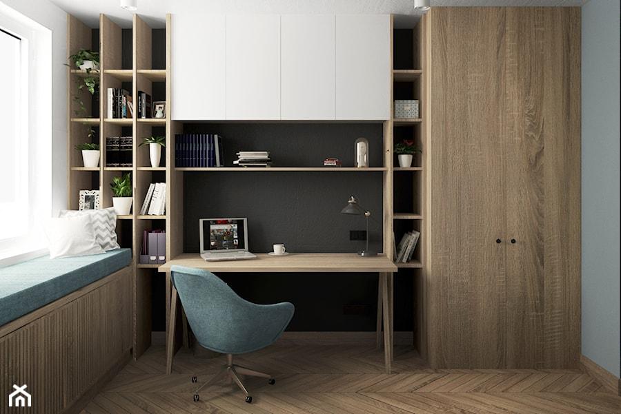 eklektyczne mieszkanie z butelkową zielenią i drewnem - Małe czarne szare białe biuro domowe w pokoju, styl eklektyczny - zdjęcie od JUST studio projektowe