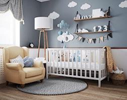 pokój dziecka - Średni biały niebieski pokój dziecka dla chłopca dla dziewczynki dla niemowlaka, styl vintage - zdjęcie od JUST studio projektowe
