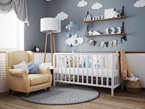 pokój dziecka #1, Białystok - Średni biały niebieski pokój dziecka dla chłopca dla dziewczynki dla niemowlaka, styl vintage - zdjęcie od JUST studio projektowe