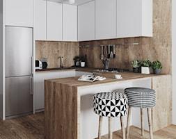 skandynawska kuchnia - Mała otwarta wąska kuchnia w kształcie litery u w aneksie, styl skandynawski - zdjęcie od JUST studio projektowe