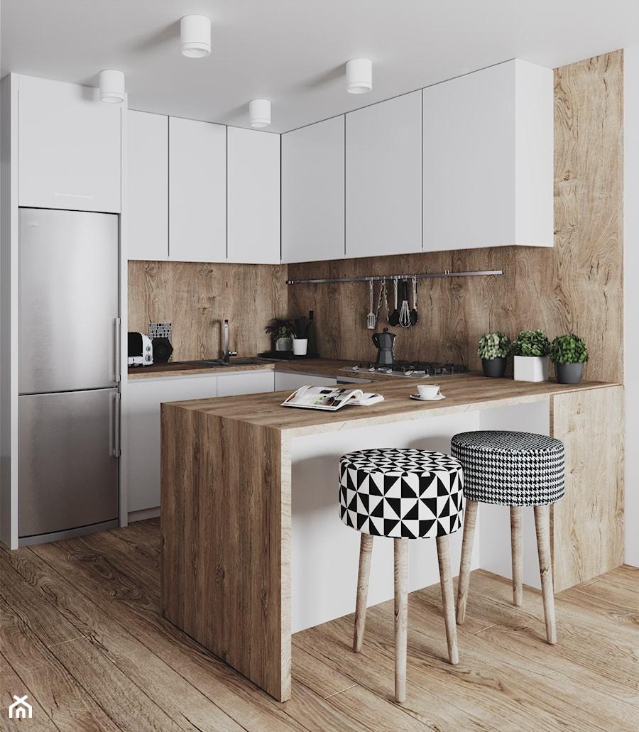 kuchnia #6, Białystok - Mała otwarta wąska kuchnia w kształcie litery u w aneksie, styl skandynawski - zdjęcie od JUST studio projektowe