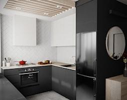 mieszkanie #14, Białystok - Średnia otwarta biała kuchnia w kształcie litery u z oknem, styl nowocz ... - zdjęcie od JUST studio projektowe - Homebook