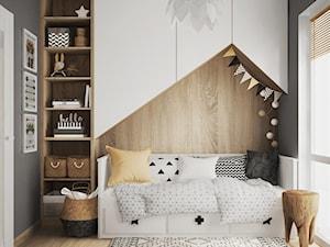 pokój dziecka z tapetą - Mały czarny pokój dziecka dla chłopca dla dziewczynki dla malucha, styl skandynawski - zdjęcie od JUST studio projektowe