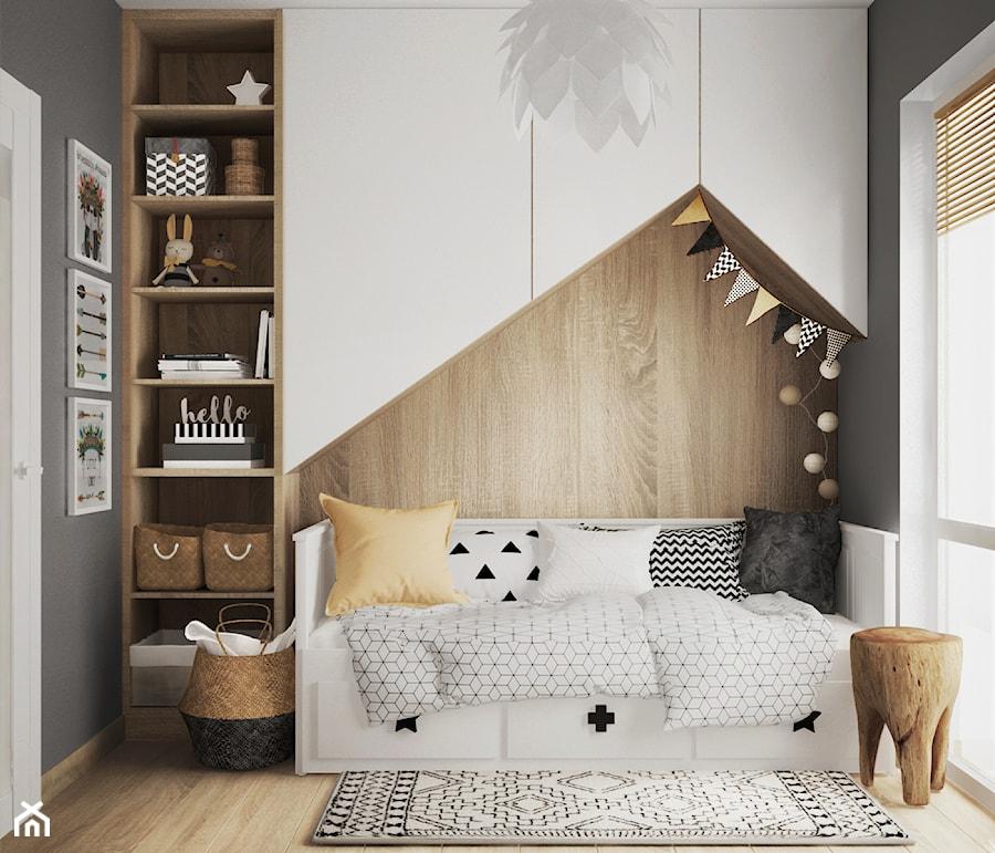 pokój dziecka #2, Warszawa - Mały czarny pokój dziecka dla chłopca dla dziewczynki dla malucha, styl skandynawski - zdjęcie od JUST studio projektowe
