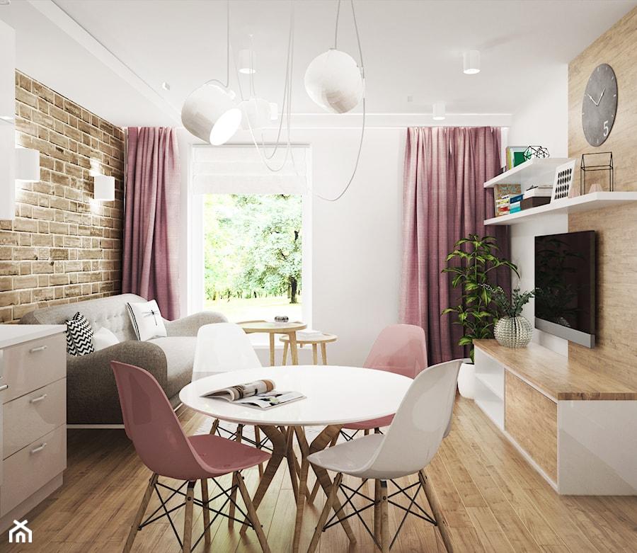 mieszkanie #3, Białystok - Mały biały salon z jadalnią, styl skandynawski - zdjęcie od JUST studio projektowe