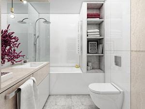 mieszkanie, Białystok 5 - Mała biała szara łazienka na poddaszu w bloku w domu jednorodzinnym bez okna, styl nowoczesny - zdjęcie od JUST studio projektowe