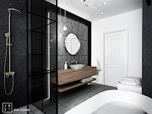 łazienka Białystok 2 - Średnia biała szara łazienka w bloku w domu jednorodzinnym bez okna, styl nowoczesny - zdjęcie od JUST studio projektowe