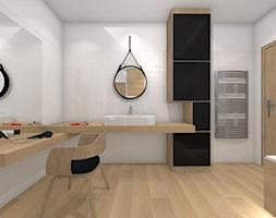 łazienka Biel Czerń I Drewno Zdjęcie Od Www
