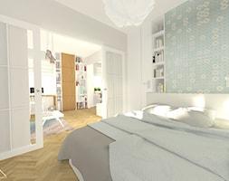 pastelowe mieszkanie na Żoliborzu_37 m2 - Średnia biała miętowa sypialnia małżeńska, styl skandynawski - zdjęcie od MANEKINEKO