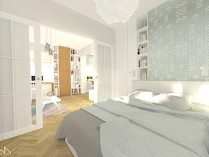 kawalerka na Żoliborzu - Średnia biała miętowa sypialnia małżeńska, styl skandynawski - zdjęcie od MANEKINEKO