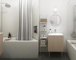 Warszawa | Białołęka - Średnia biała łazienka na poddaszu w bloku w domu jednorodzinnym bez okna, styl skandynawski - zdjęcie od Marta Wypych | pracownia projektowa
