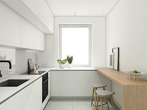 Warszawa | Wola I - Mała zamknięta szara kuchnia w kształcie litery u, styl minimalistyczny - zdjęcie od Marta Wypych | pracownia projektowa