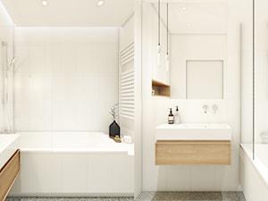 Warszawa | Wola I - Mała biała łazienka na poddaszu w bloku w domu jednorodzinnym bez okna, styl minimalistyczny - zdjęcie od Marta Wypych | pracownia projektowa
