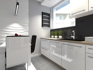 Mieszkanie w męskim stylu Warszawa-Ursus - Średnia szara kuchnia jednorzędowa w aneksie z oknem, styl nowoczesny - zdjęcie od Medyńscy Projektowanie