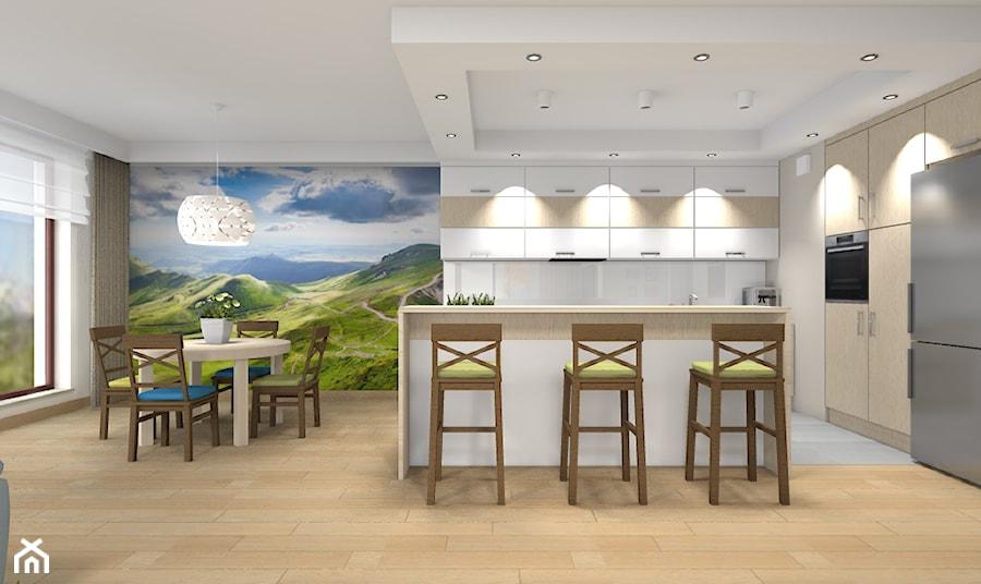 Mieszkanie w Warszawie 113m2 - Duża otwarta kuchnia w kształcie litery l w aneksie z wyspą z oknem - zdjęcie od Medyńscy Projektowanie