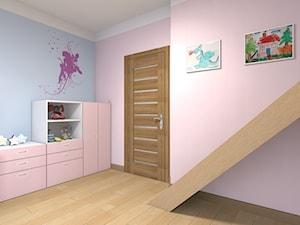 Mieszkanie w Warszawie 113m2 - Średni pastelowy różowy niebieski pokój dziecka dla dziewczynki dla malucha - zdjęcie od Medyńscy Projektowanie