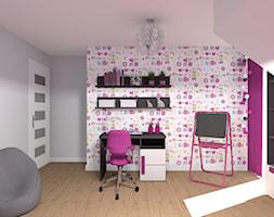Pokój dla dziewczynki - Średni szary kolorowy pokój dziecka dla dziewczynki dla ucznia dla nastolatka, styl nowoczesny - zdjęcie od Medyńscy Projektowanie