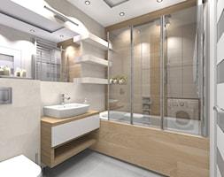 Mieszkanie w męskim stylu Warszawa-Ursus - Mała szara łazienka na poddaszu w bloku w domu jednorodzinnym bez okna, styl nowoczesny - zdjęcie od Medyńscy Projektowanie