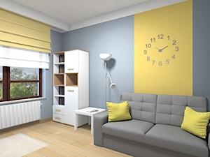 Mieszkanie w Warszawie 113m2 - Średnie szare żółte biuro kącik do pracy w pokoju - zdjęcie od Medyńscy Projektowanie