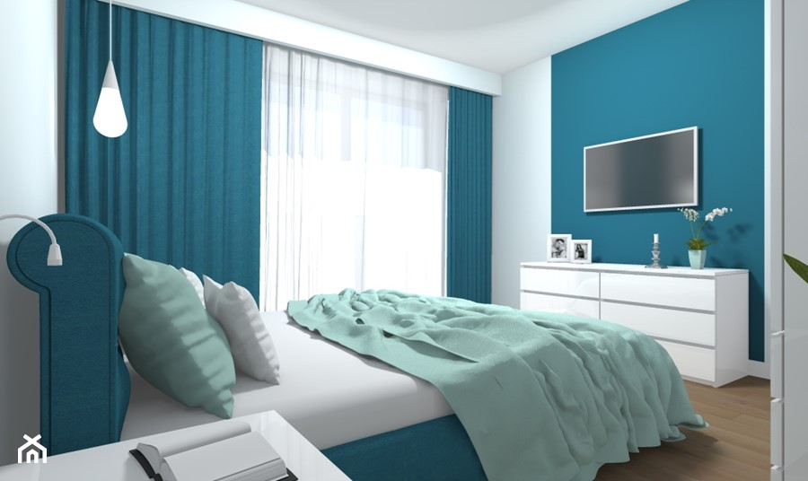 Mieszkanie 94m2 Warszawa-Wilanów - Mała biała szara niebieska sypialnia małżeńska, styl nowoczesny - zdjęcie od Medyńscy Projektowanie