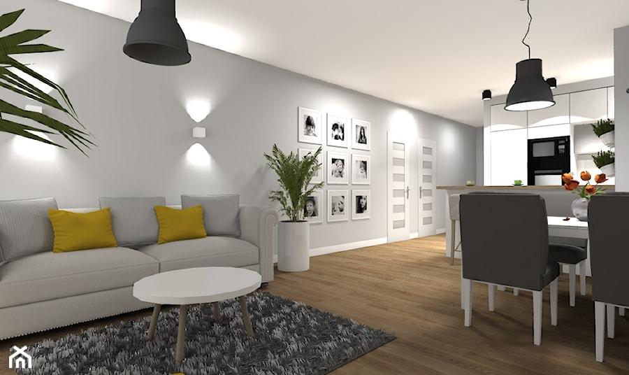 Aranżacje wnętrz - Salon: Wybrane wnętrza mieszkania w Warszawie - wersja klasyczna/ skandynawska - Średni szary salon z jadalnią, styl eklektyczny - Medyńscy Projektowanie. Przeglądaj, dodawaj i zapisuj najlepsze zdjęcia, pomysły i inspiracje designerskie. W bazie mamy już prawie milion fotografii!