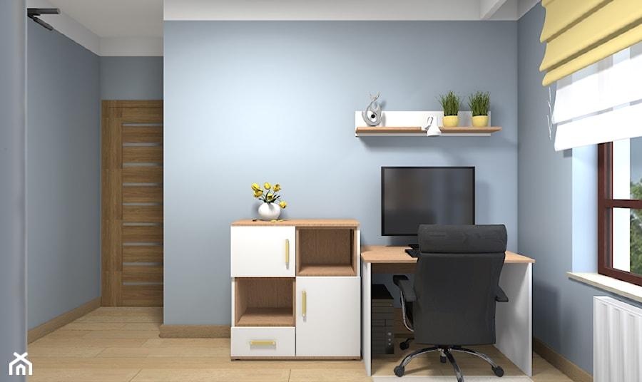 Mieszkanie w Warszawie 113m2 - Średnie niebieskie szare biuro domowe kącik do pracy w pokoju - zdjęcie od Medyńscy Projektowanie