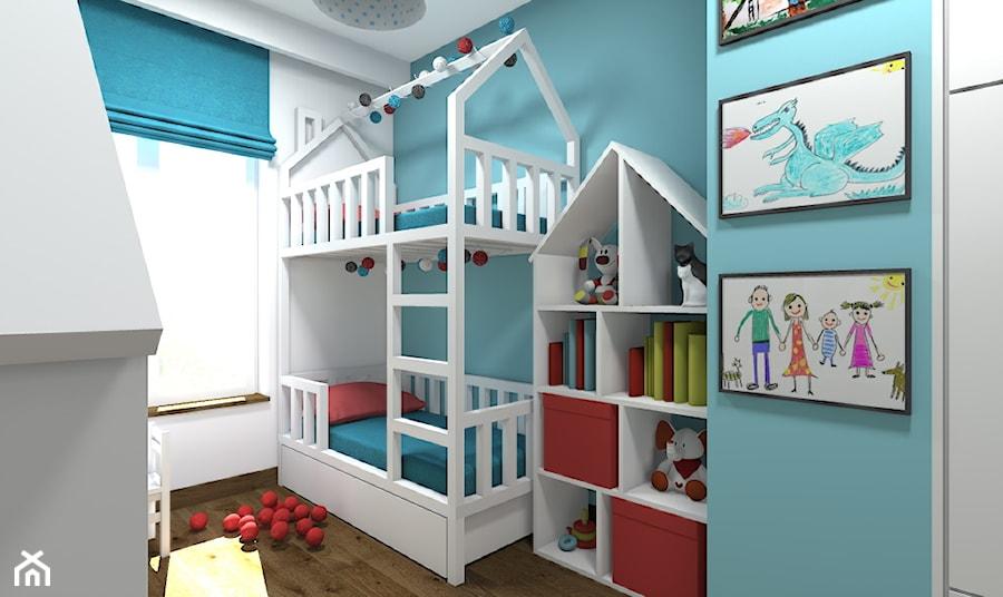 Aranżacje wnętrz - Pokój dziecka: Mieszkanie 2-poziomowe 80m2 w Warszawie - Mały biały niebieski pokój dziecka dla chłopca dla dziewczynki dla rodzeństwa dla malucha - Medyńscy Projektowanie. Przeglądaj, dodawaj i zapisuj najlepsze zdjęcia, pomysły i inspiracje designerskie. W bazie mamy już prawie milion fotografii!