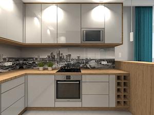 Mieszkanie 84m2 Warszawa - Wilanów - Średnia otwarta kuchnia w kształcie litery u w aneksie, styl nowoczesny - zdjęcie od Medyńscy Projektowanie
