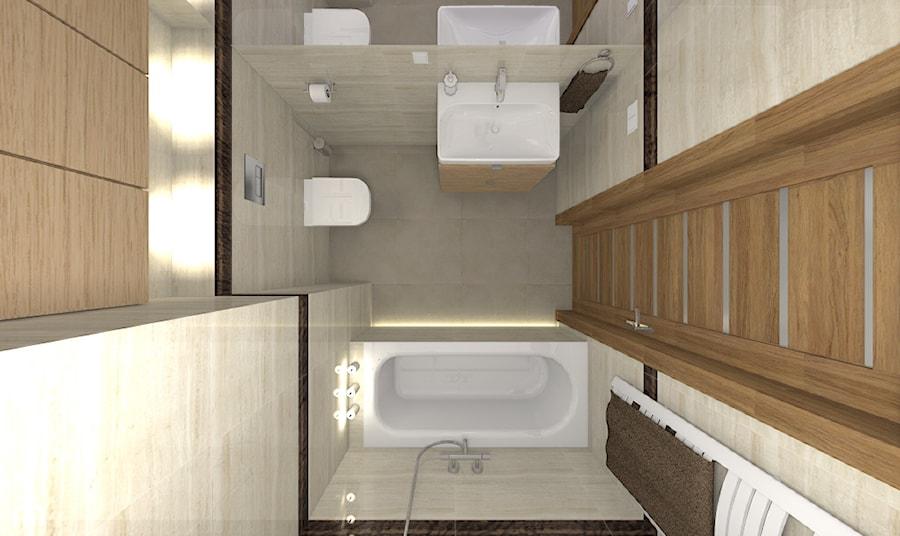 Mieszkanie w Warszawie 113m2 - Mała beżowa łazienka w bloku w domu jednorodzinnym bez okna - zdjęcie od Medyńscy Projektowanie