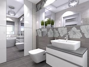 Segment w Warszawie - wybrane pomieszczenia - Duża biała beżowa łazienka w domu jednorodzinnym z oknem, styl glamour - zdjęcie od Medyńscy Projektowanie