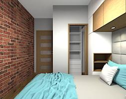 Mieszkanie 2-poziomowe 80m2 w Warszawie - Mała biała szara brązowa sypialnia małżeńska z garderobą - zdjęcie od Medyńscy Projektowanie
