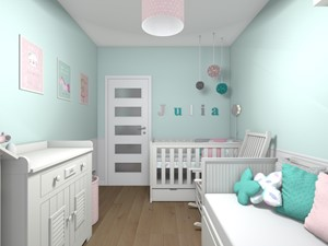 Mieszkanie 94m2 Warszawa-Wilanów - Mały niebieski pokój dziecka dla dziewczynki dla niemowlaka, styl nowoczesny - zdjęcie od Medyńscy Projektowanie