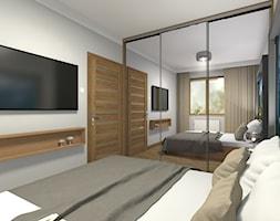 Apartament w Zakopanem ul. Piłsudskiego - Duża biała szara sypialnia małżeńska, styl nowoczesny - zdjęcie od Medyńscy Projektowanie