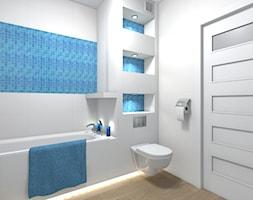 Mieszkanie 94m2 Warszawa-Wilanów - Mała biała niebieska łazienka na poddaszu w bloku w domu jednorodzinnym bez okna, styl nowoczesny - zdjęcie od Medyńscy Projektowanie