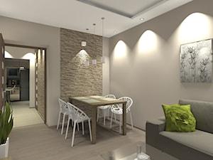 Mieszkanie w śródmiejskim bloku (Warszawa) - Średni beżowy salon z jadalnią, styl nowoczesny - zdjęcie od Medyńscy Projektowanie
