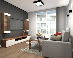 Mieszkanie w męskim stylu Warszawa-Ursus - Średni szary salon z tarasem / balkonem, styl nowoczesny - zdjęcie od Medyńscy Projektowanie