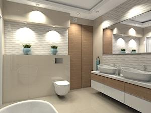 Mieszkanie 99m2 na warszawskiej Pradze - Duża biała beżowa łazienka bez okna, styl nowoczesny - zdjęcie od Medyńscy Projektowanie