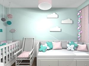 Mieszkanie 94m2 Warszawa-Wilanów - Mały zielony pokój dziecka dla chłopca dla dziewczynki dla niemowlaka, styl nowoczesny - zdjęcie od Medyńscy Projektowanie