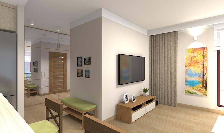 Mieszkanie w Warszawie 113m2 - Średni szary salon z jadalnią - zdjęcie od Medyńscy Projektowanie