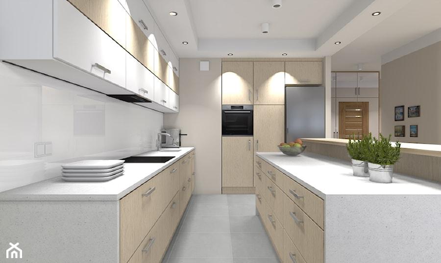 Mieszkanie w Warszawie 113m2 - Duża otwarta biała beżowa kuchnia w kształcie litery l z wyspą - zdjęcie od Medyńscy Projektowanie