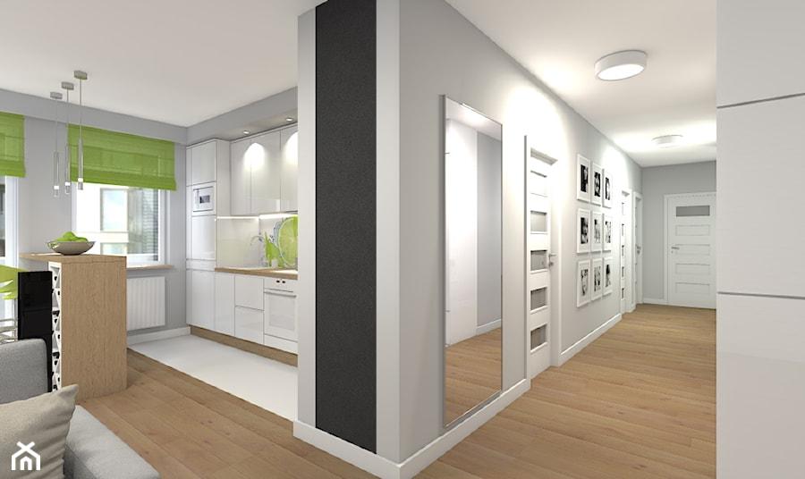 Mieszkanie 94m2 Warszawa-Wilanów - Duży szary hol / przedpokój, styl nowoczesny - zdjęcie od Medyńscy Projektowanie