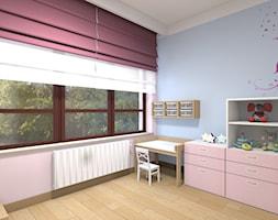 Mieszkanie w Warszawie 113m2 - Mały różowy niebieski pokój dziecka dla dziewczynki dla ucznia dla malucha - zdjęcie od Medyńscy Projektowanie