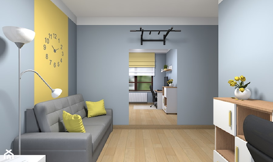 Mieszkanie w Warszawie 113m2 - Średnie szare żółte biuro domowe kącik do pracy w pokoju - zdjęcie od Medyńscy Projektowanie