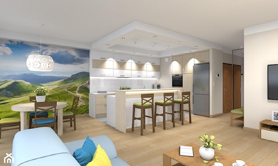Mieszkanie w Warszawie 113m2 - Średni beżowy salon z kuchnią z jadalnią - zdjęcie od Medyńscy Projektowanie