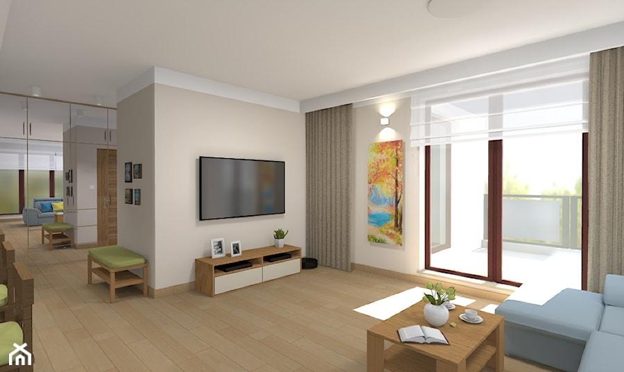 Mieszkanie w Warszawie 113m2 - Średni beżowy salon z tarasem / balkonem - zdjęcie od Medyńscy Projektowanie