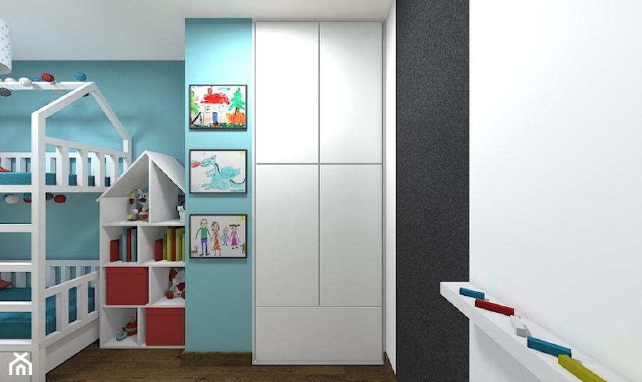Aranżacje wnętrz - Pokój dziecka: Mieszkanie 2-poziomowe 80m2 w Warszawie - Mały niebieski pokój dziecka dla chłopca dla dziewczynki dla rodzeństwa dla malucha dla nastolatka - Medyńscy Projektowanie. Przeglądaj, dodawaj i zapisuj najlepsze zdjęcia, pomysły i inspiracje designerskie. W bazie mamy już prawie milion fotografii!