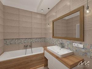 Mieszkanie w Konstancinie - Średnia łazienka w bloku w domu jednorodzinnym bez okna, styl prowansalski - zdjęcie od mleczko architektura
