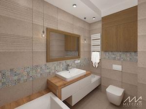 Mieszkanie w Konstancinie - Średnia kolorowa łazienka w bloku w domu jednorodzinnym bez okna, styl prowansalski - zdjęcie od mleczko architektura