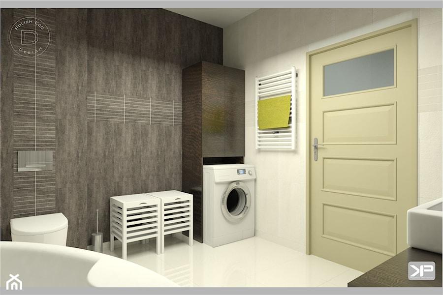 Łazienka wystrój nowoczesna w kolorach biel, brąz, szary, beż - zdjęcie od KP Produkcja Archi ...