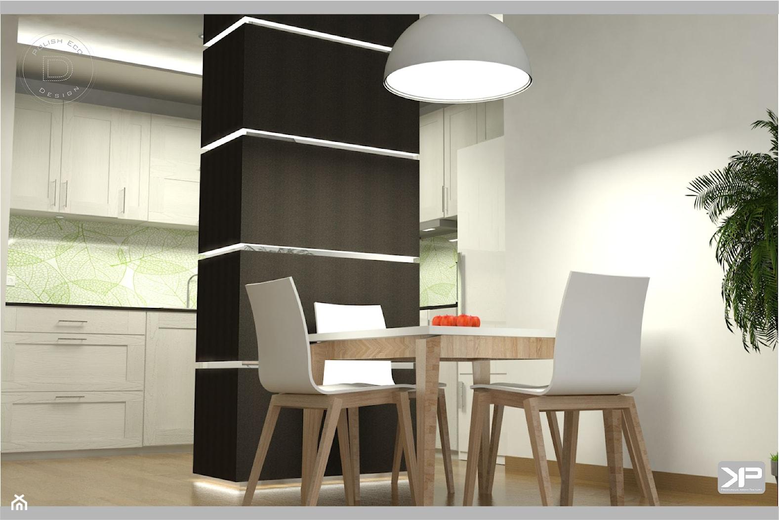 Kuchnia klasyczna w kolorach biel, brąz, czerń, beż - zdjęcie od KP Produkcja Archi-Tektury - Homebook